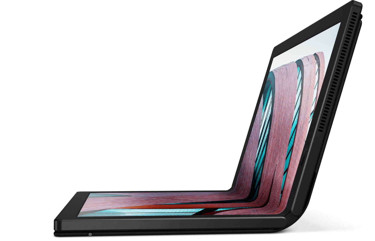 Left-side view of Lenovo ThinkPad X1 Fold open about 95 degrees