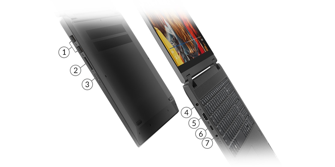 IdeaPad Flex 5 (15, Intel)laptop showing front ports