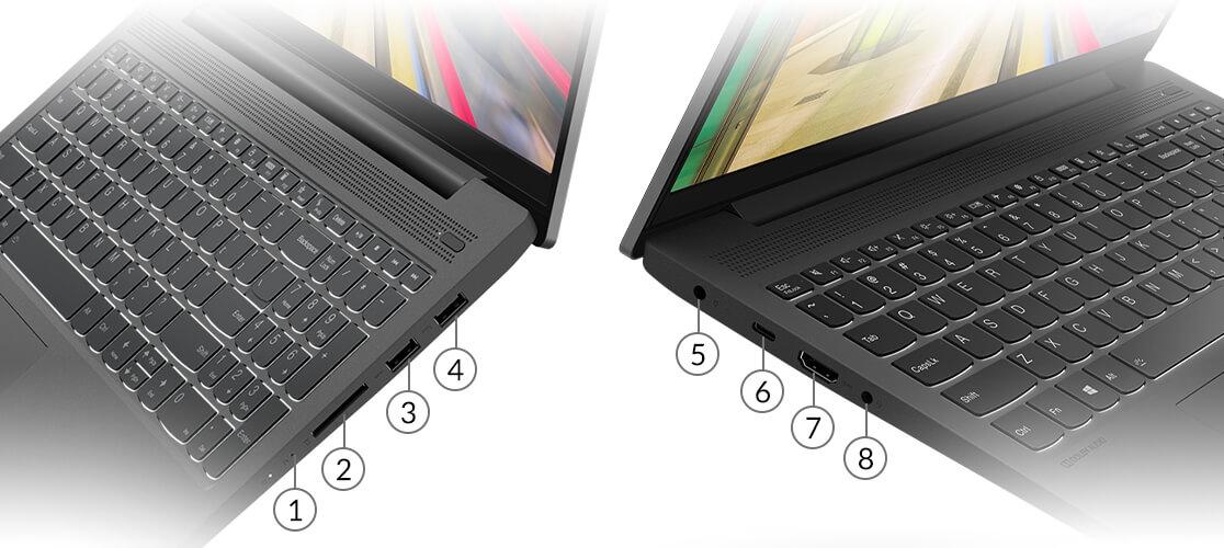 Lenovo IdeaPad 5 (15) AMD side views showing ports