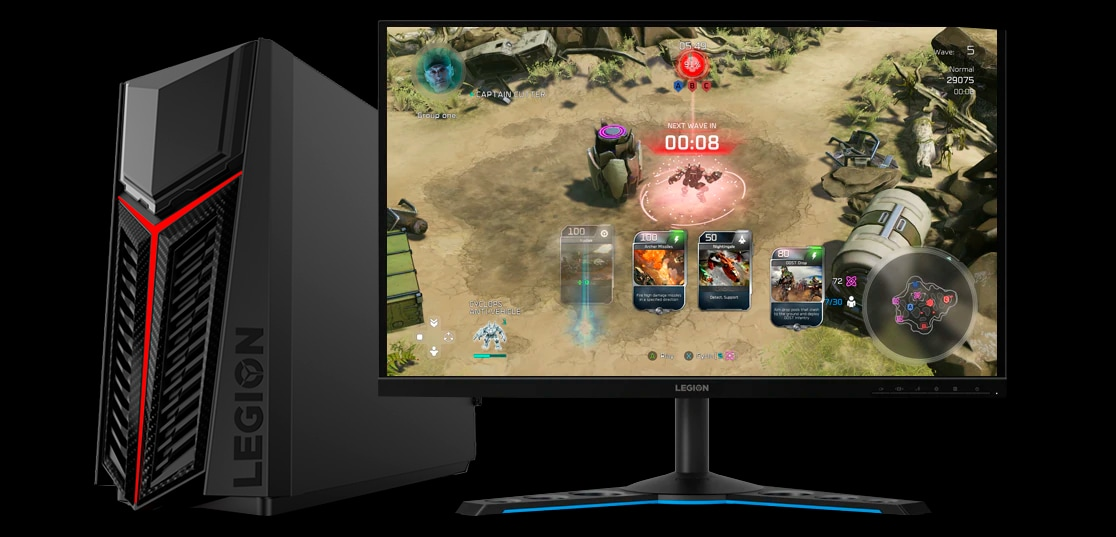 A Lenovo Legion R5 and a standalone monitor, showing a battle game in action