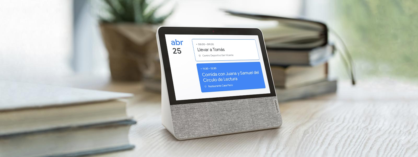 Lenovo Smart Display de 7 pulgadas te ayuda a gestionar tu agenda diaria.