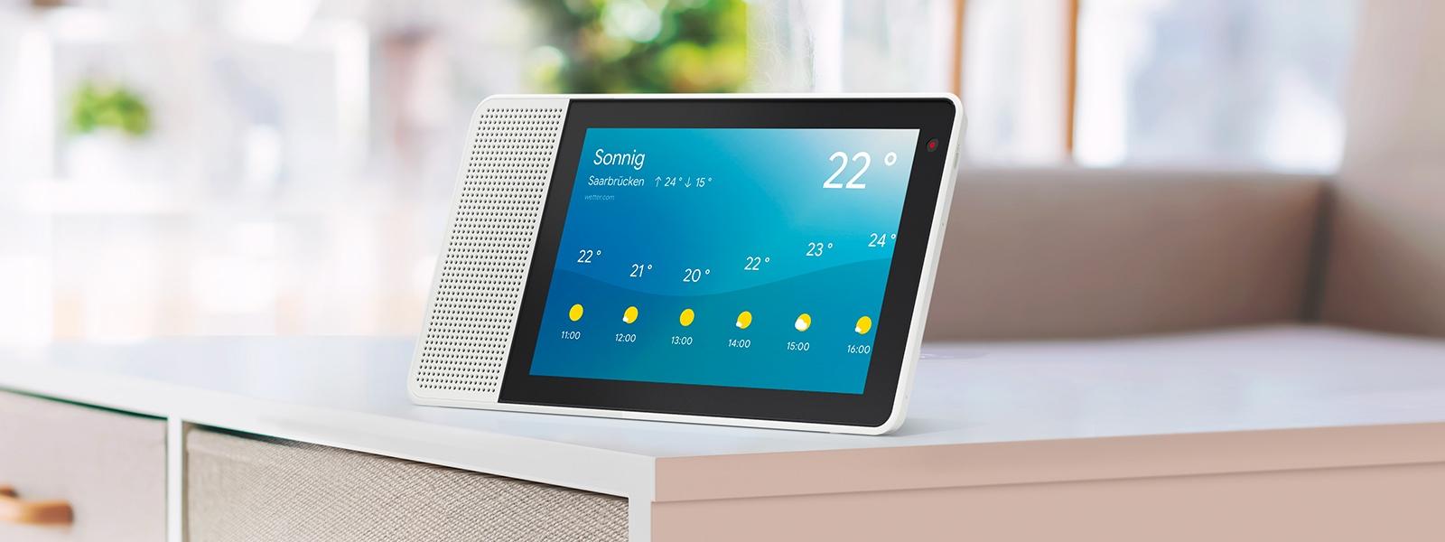 Mit dem Lenovo Smart Display sind Sie mit dem aktuellen Wetterbericht auf den Tag vorbereitet.