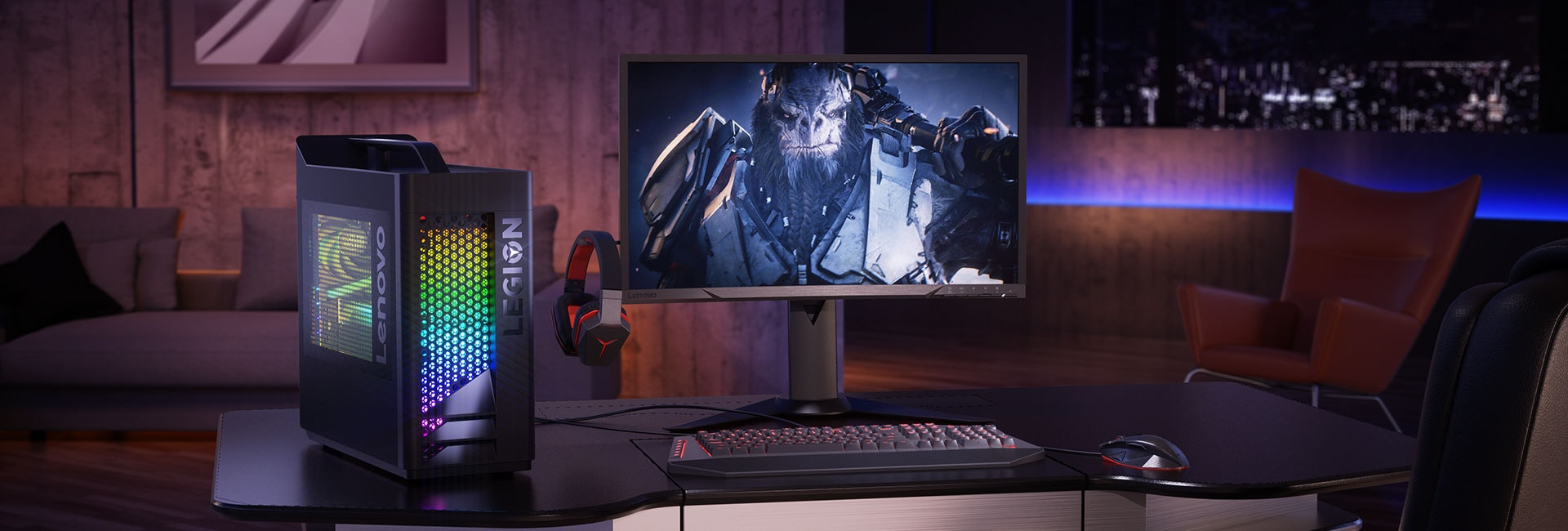 Lenovo Legion C530 gaming tower, with keyboard and monitor