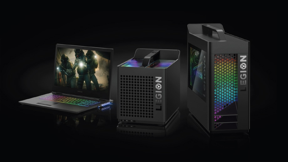 Lenovo Legion Y730 gaming laptop, C730 gaming cube, και T730 gaming tower (μπροστά όψη)