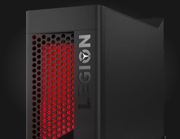 Lenovo Legion T530-towercomputer til gaming, set forfra i ¾ visning