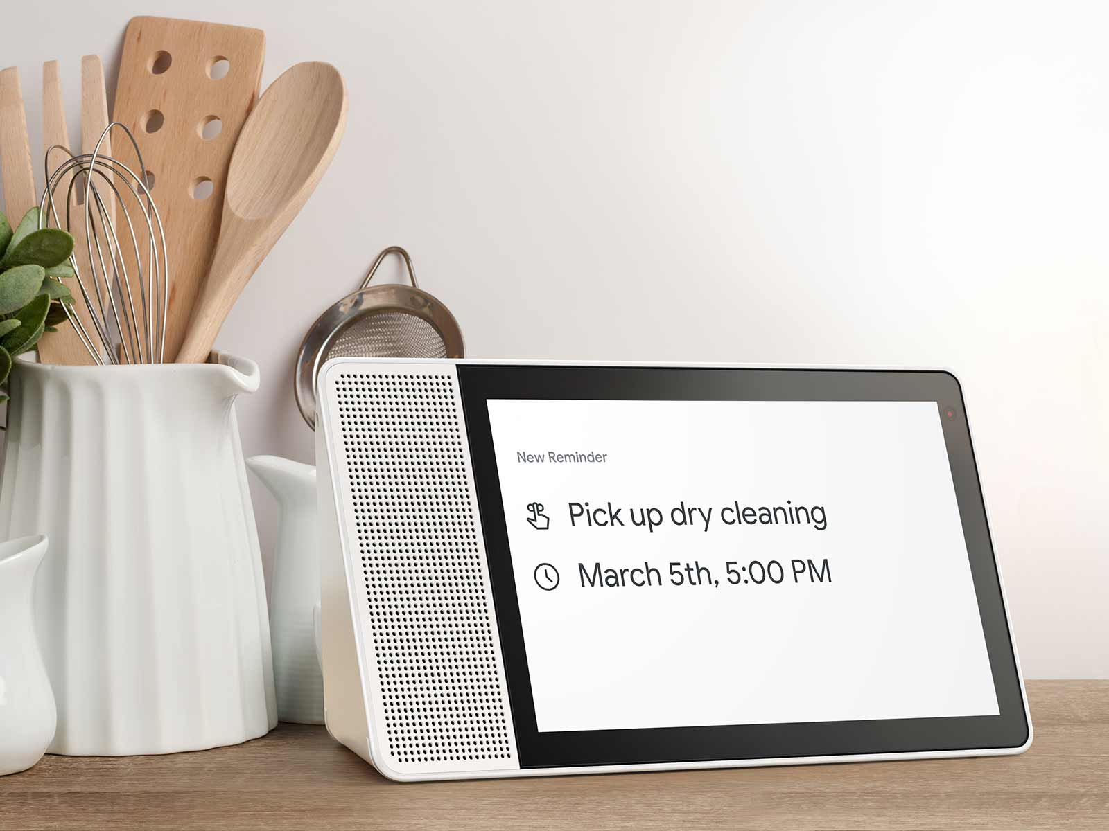 A Lenovo Smart Home System demonstrating the reminder feature of Google Assistant.