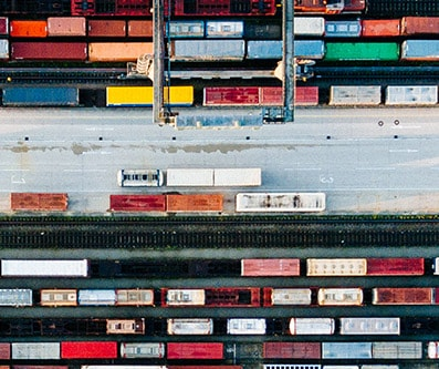 Colorful lines of boxcars from above