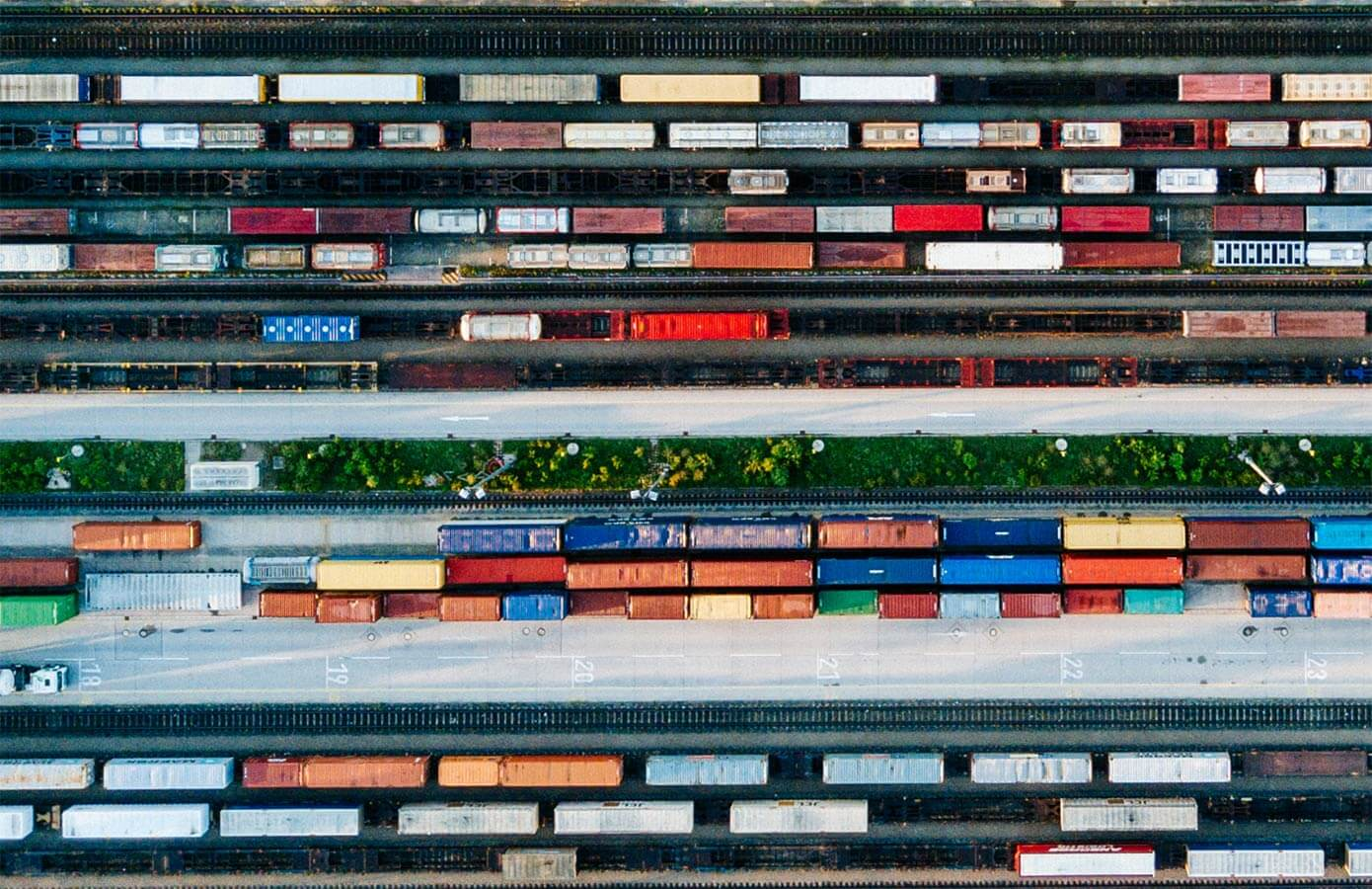 An active, efficient railyard from above