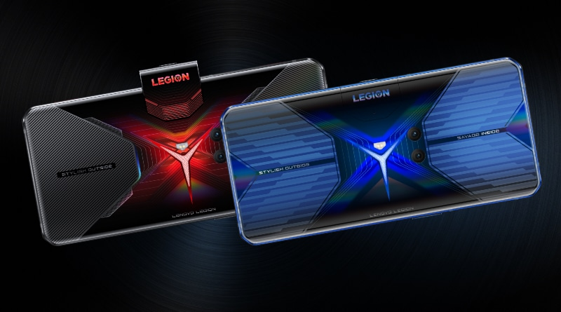 Two front-facing Legion Phone Duel gaming smartphones, one in Blazing Blue and one in Vengeance Red.