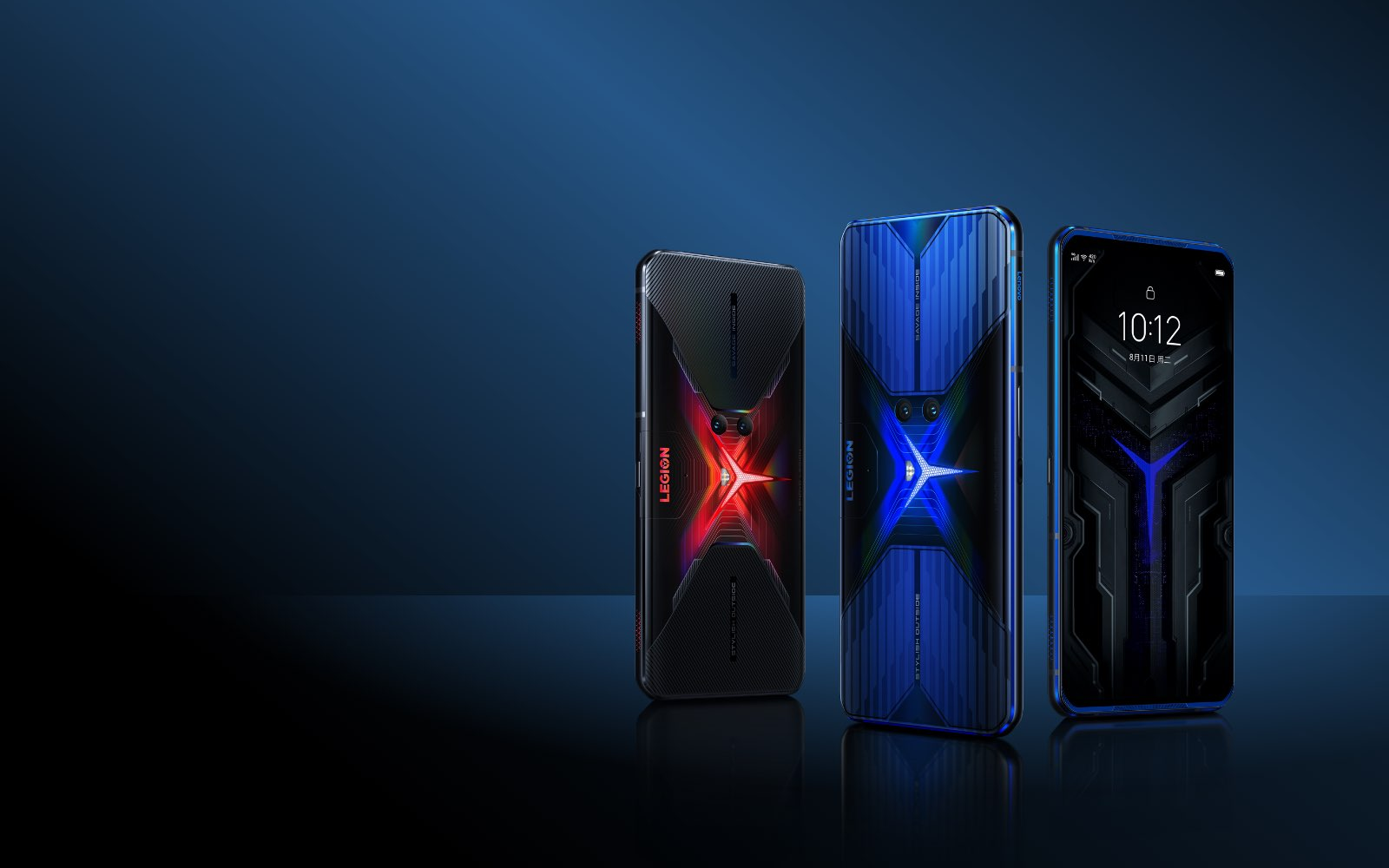Three Lenovo Legion Phone Duel standing in portrait orientation with blue and red back covers against dark blue background
