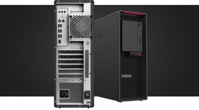 Details of bottom half, back-side and front views of the Lenovo ThinkStation P620 tower workstation.