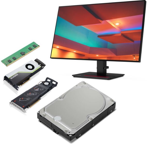 5 accessories compatible with the Lenovo ThinkStation P620 tower workstation including monitor, graphics card