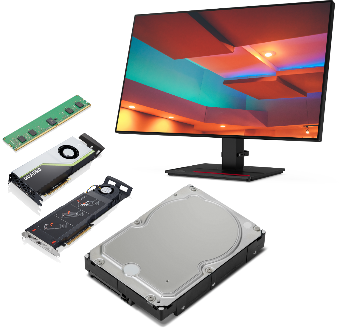 5 accessories compatible with the Lenovo ThinkStation P620 tower workstation including monitor, graphics card.