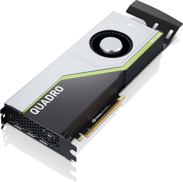 Close up of NVIDIA Quadro RTX 6000 graphics card, compatible with the Lenovo ThinkStation P620 tower workstation.