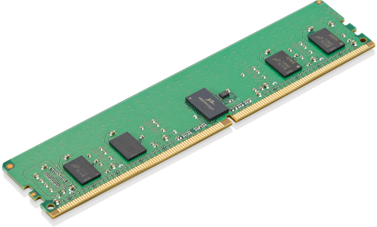 Close up of 32GB DDR4 3200MHz ECC RDIMM Memory Module, compatible with the Lenovo ThinkStation P620 tower workstation.