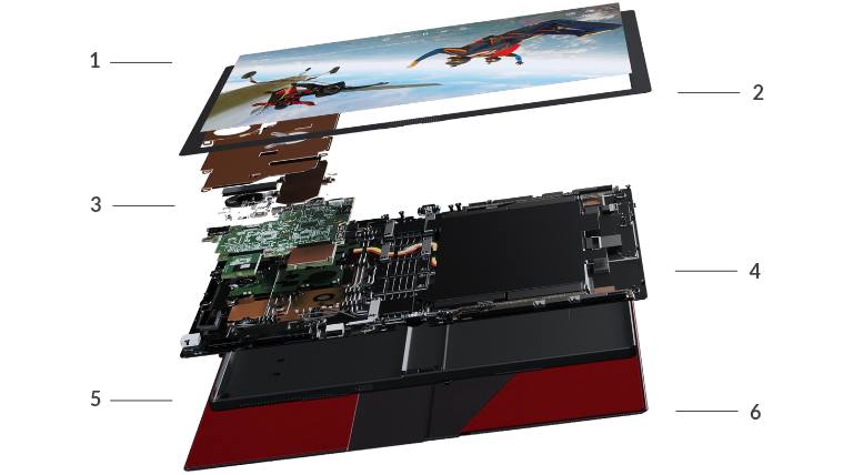 The start of an exploded view of Lenovo ThinkPad X1 Fold lying flat, showing approximately 3 layers