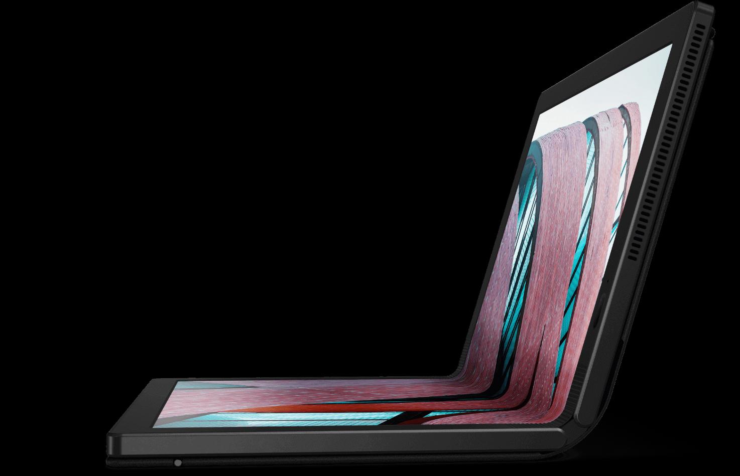 Vista del lado izquierdo de Lenovo ThinkPad X1 Fold abierta a unos 95 grados.