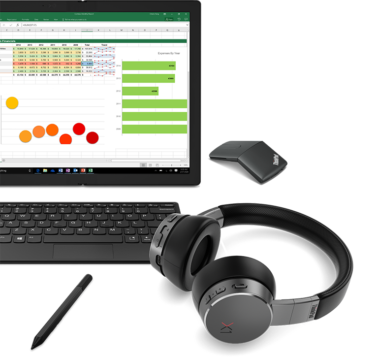 ThinkPad X1 Fold product accessory grouping with monitor, keyboard, pen, mouse, and headphones