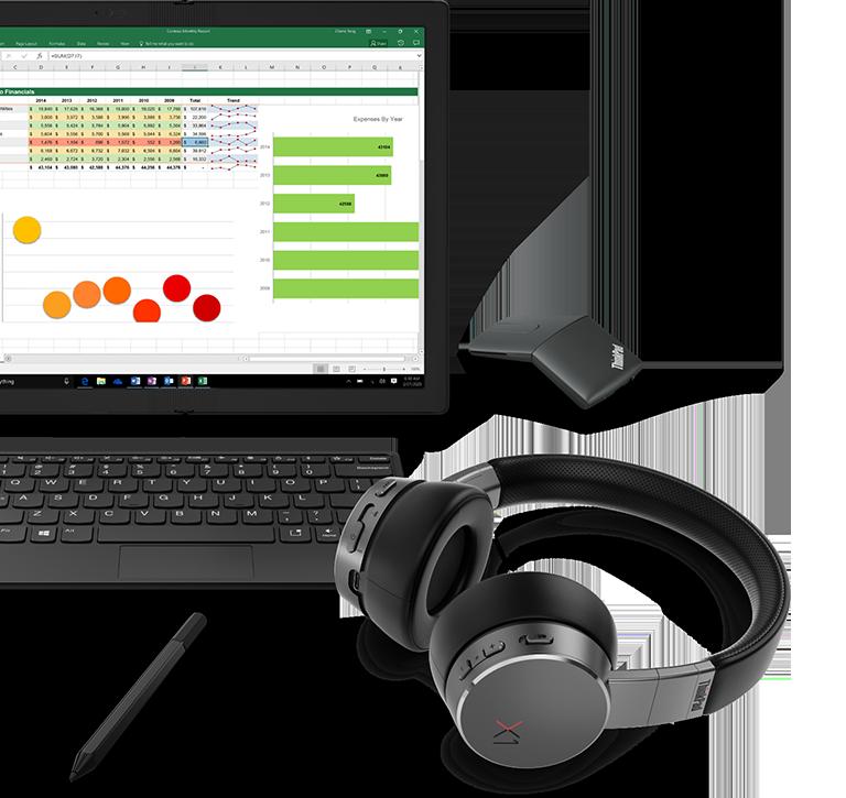Agrupación de accesorios del ThinkPad X1 Fold con monitor, teclado, lápiz, ratón y auriculares