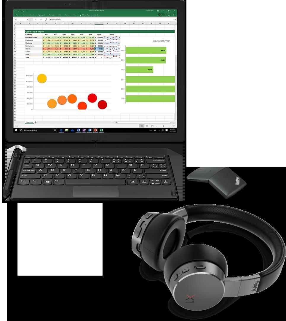 Gruppo di accessori del prodotto ThinkPad X1 Fold con monitor, tastiera, penna, mouse e cuffie