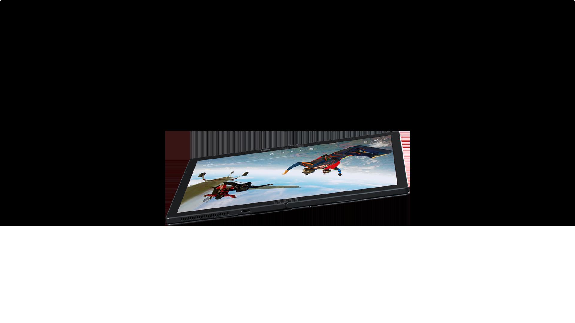 Awal dari tampilan memukau Lenovo ThinkPad X1 Fold yang berbaring lurus, menampilkan sekitar 3 lapisan