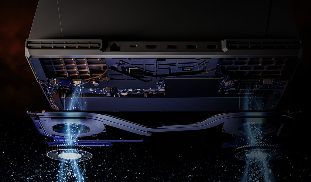An open up laptop with NVIDIA GeForce RTX graphics and 10th Gen Intel Core prcessor on the keyboard