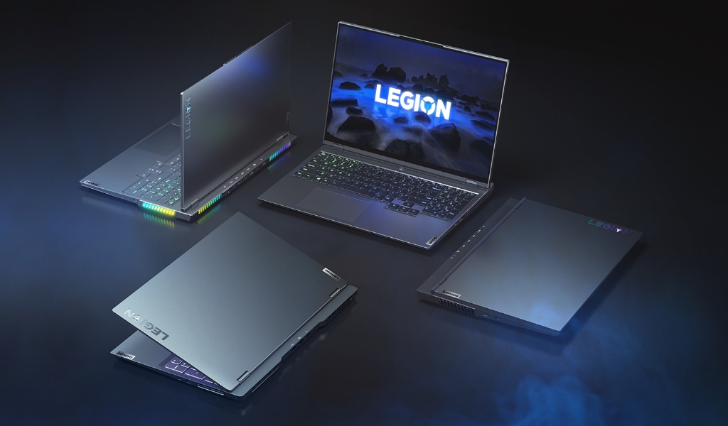 Four Lenovo Legion gaming laptops facing different directions, with cover open at varying degrees: Lenovo Legion 5, Lenovo Legion 5 Pro, Lenovo Legion 7, and Lenovo Legion Slim 7.