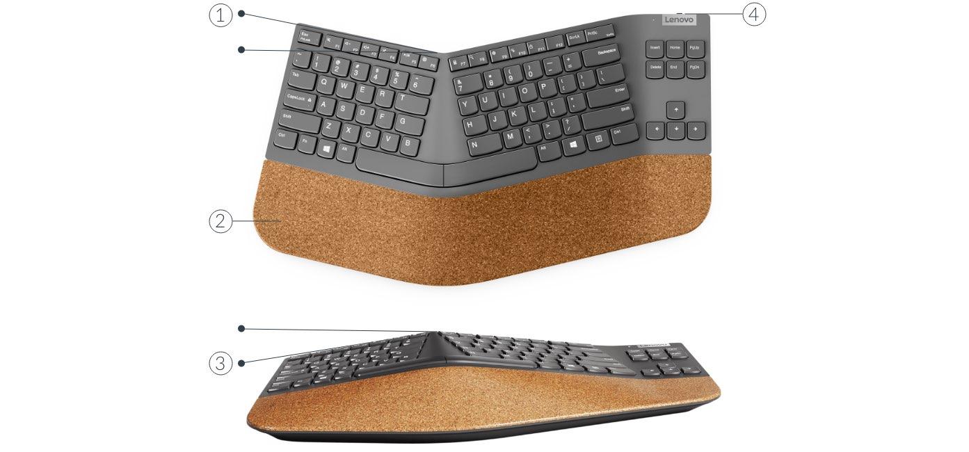 Порты беспроводной разделенной клавиатуры Lenovo Go