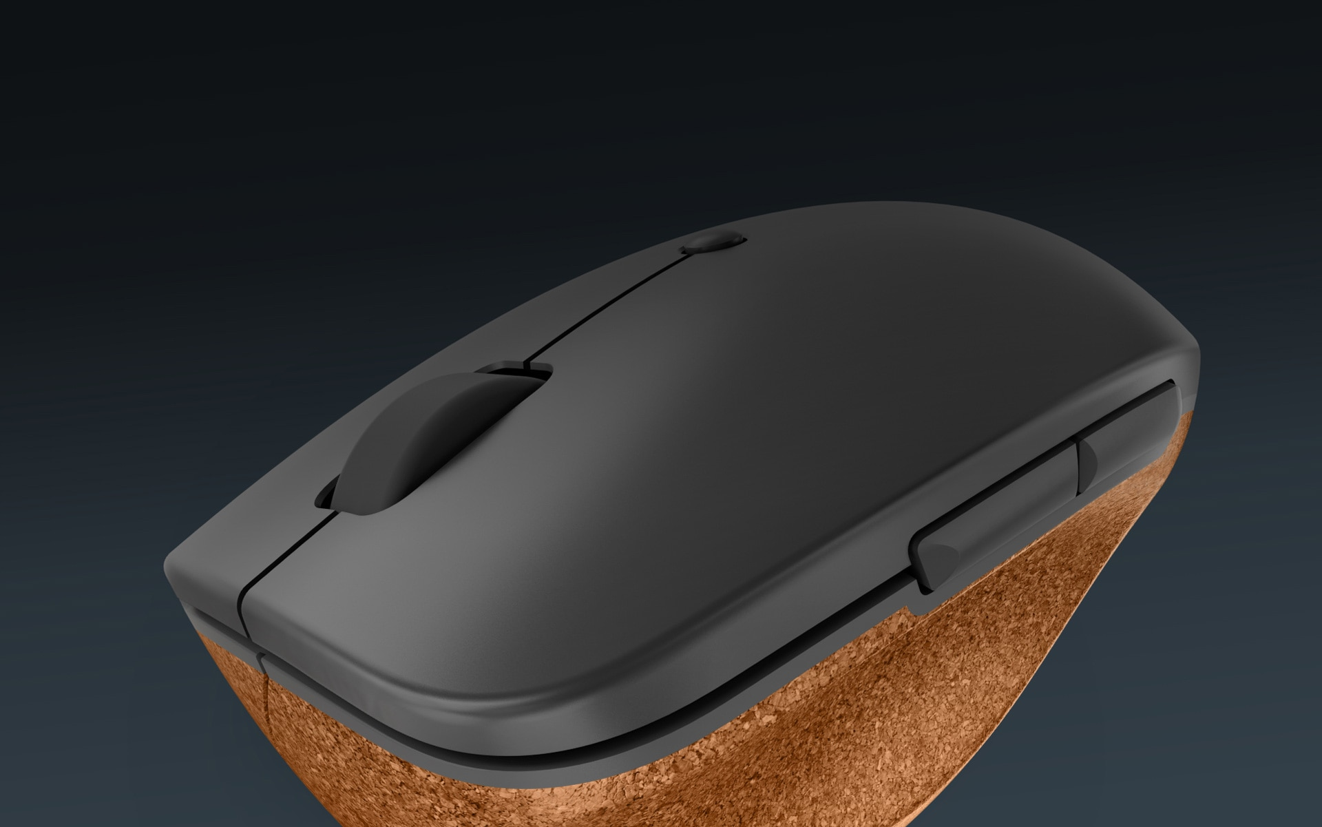Lenovo Go Wireless Vertical Mouse closeup tilted downward