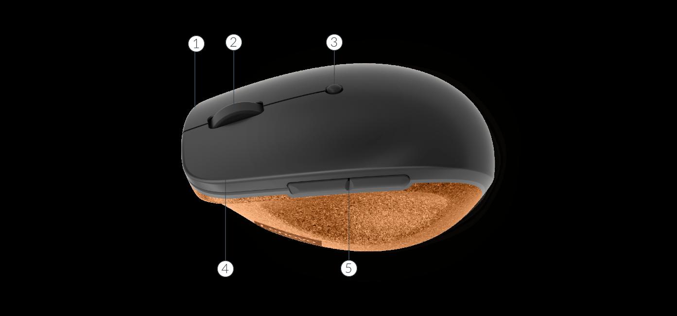 Lenovo Go Wireless Vertical Mouse top view