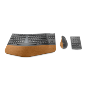 Lenovo Go Wireless Vertical Mouse top view, Lenovo Go Wireless Split Keyboard top view, Lenovo Go Wireless Numeric Pad top view