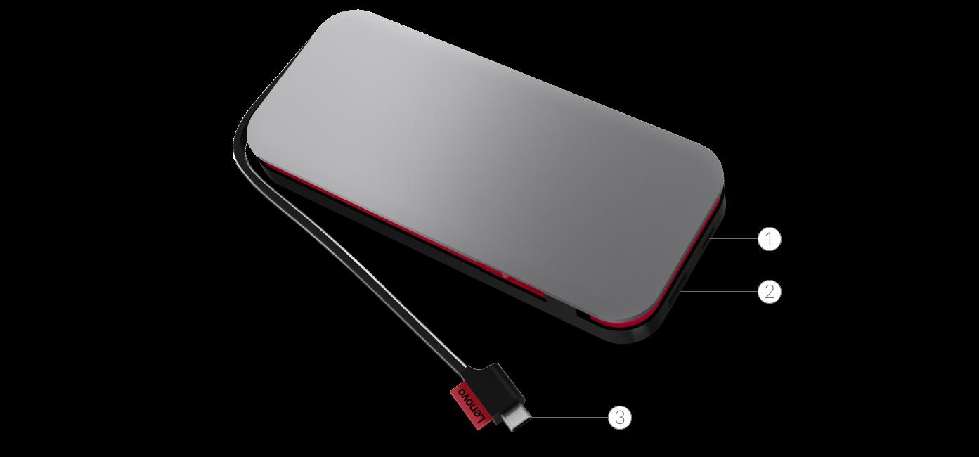 Розніми на портативному акумуляторі для ноутбуків Lenovo Go USB-C (20000 мАг)