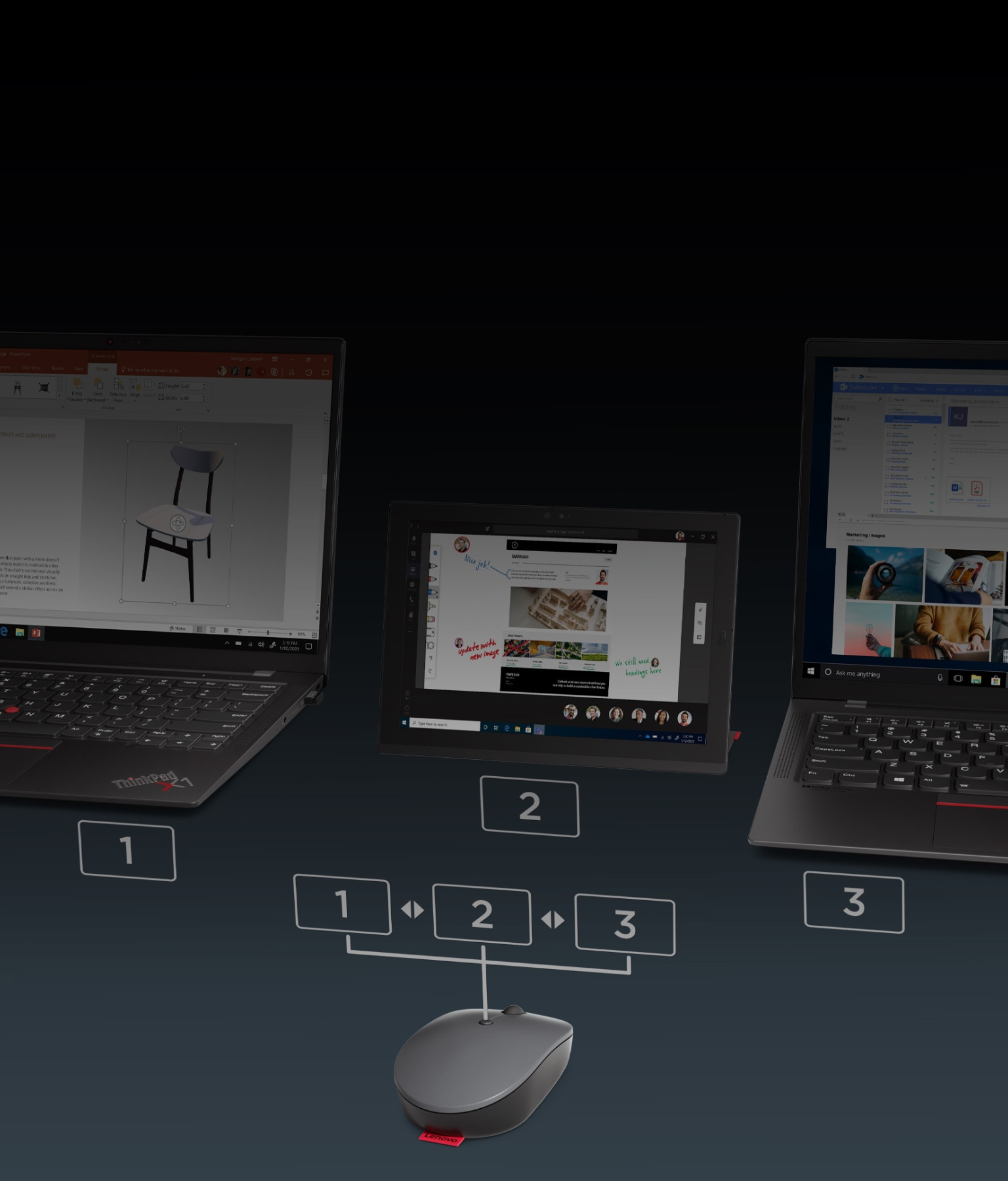 Lenovo Go Wireless Multi-Device Mouse connected to three separate devices