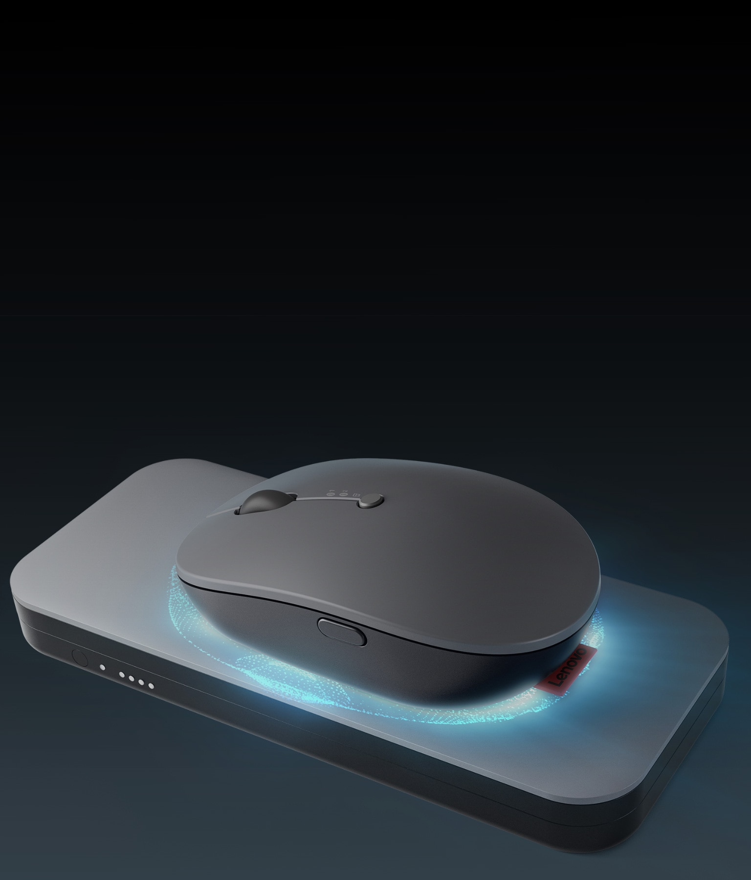Lenovo Go Wireless Multi-Device Mouse charging on wireless charger