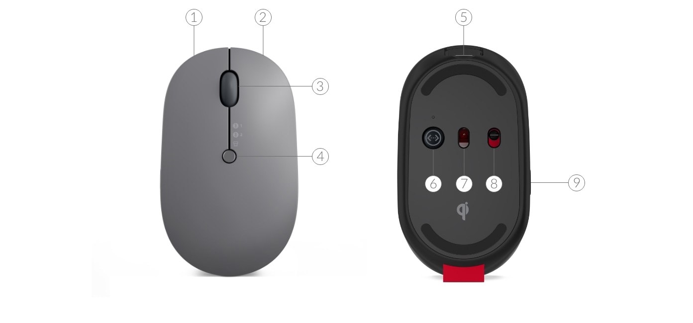 Lenovo Go Wireless Multi-Device Mouse closeup, left side view