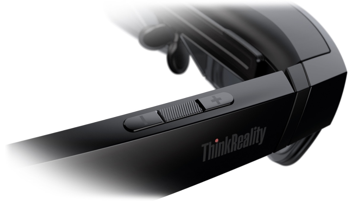 Lenovo ThinkReality A3 Smart Glasses– Nahaufnahme der +/- Steuertasten am rechten Ohrstück