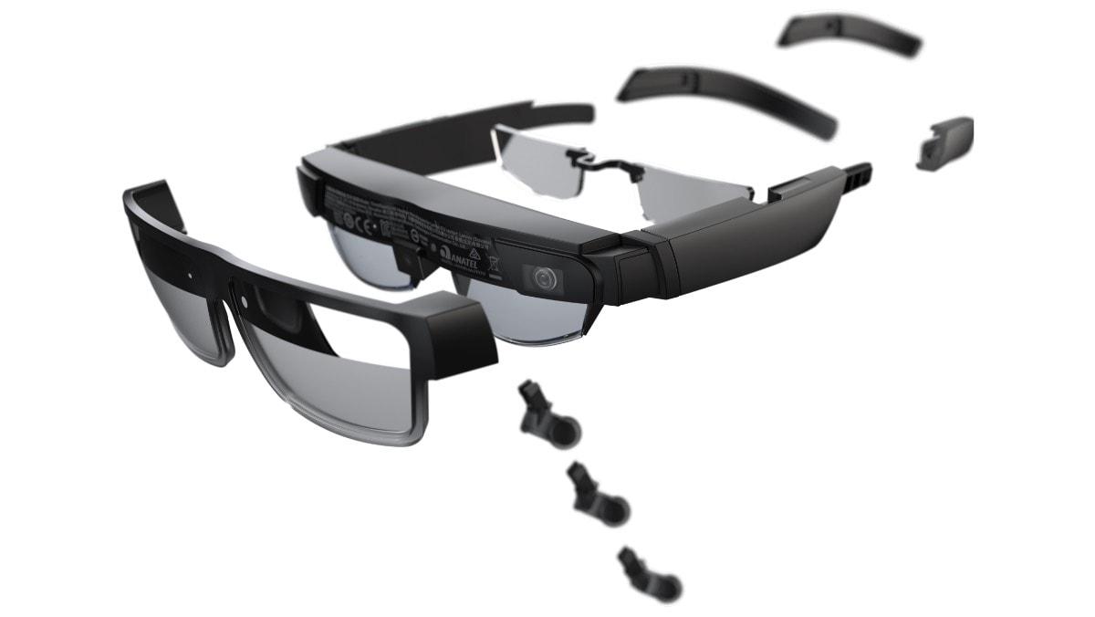 Lenovo ThinkReality A3 Smart Glasses– Explosionsansicht der Ohrstücke, Gläser und Nasenstücke