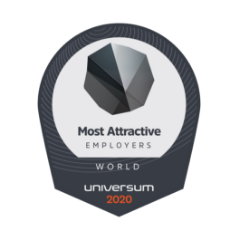 a badge looks like a logo with the following words: Most Attractive, Employers, World, Universum 2020