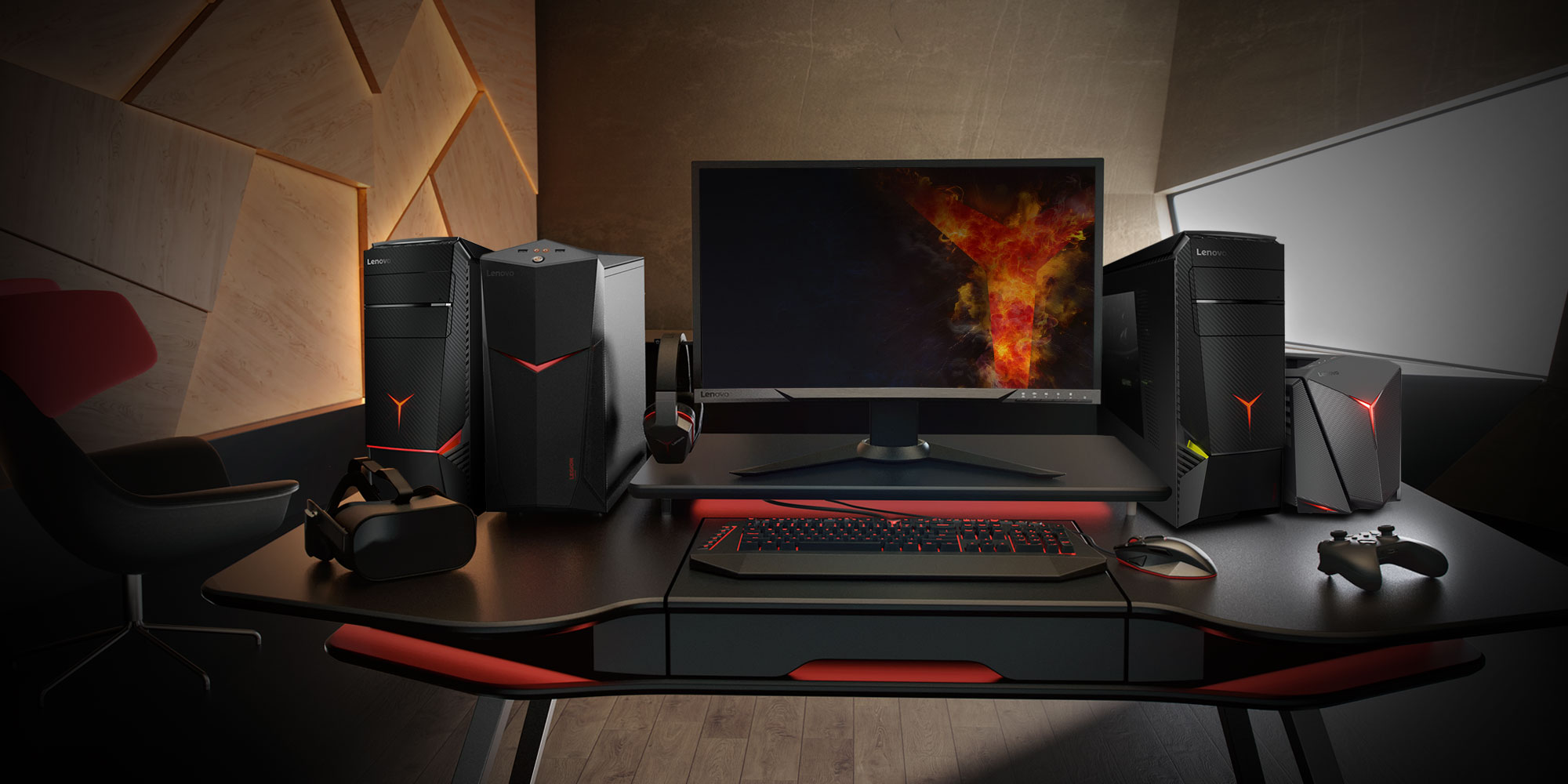 Lenovo Gaming Towers and Gaming Monitor