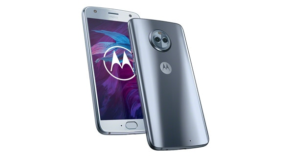 moto x4 smartphone, front and back angle views