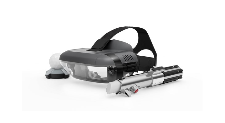 Star Wars: Jedi Challenge lightsaber controller, Lenovo Mirage AR headset, and tracking beacon