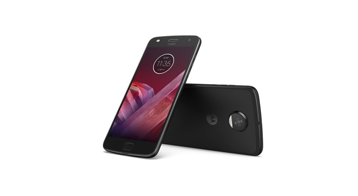 Selection of moto z2 force smartphones with moto mods attached