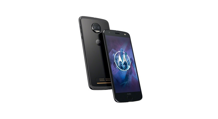 moto z2 force smartphone, front and back angle views