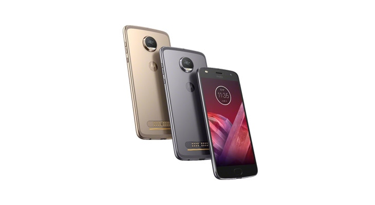 moto z2 play smartphone, front and back angle views