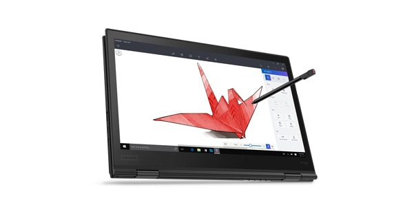 Lenovo ThinkPad X1 Yoga 2-in-1 laptop front angle view in laptop mode