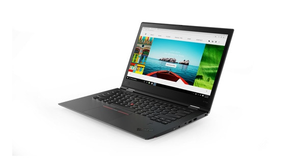 Lenovo ThinkPad X1 Yoga 2-in-1 laptop rear angle view in laptop mode