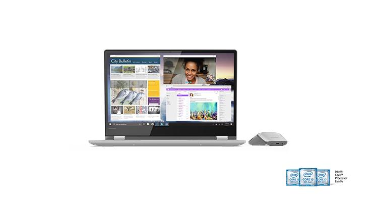 """2-в-1 лаптоп Lenovo Yoga 530 ъглов изглед отпред в режим """"лаптоп"""" с мишка Lenovo Yoga"""