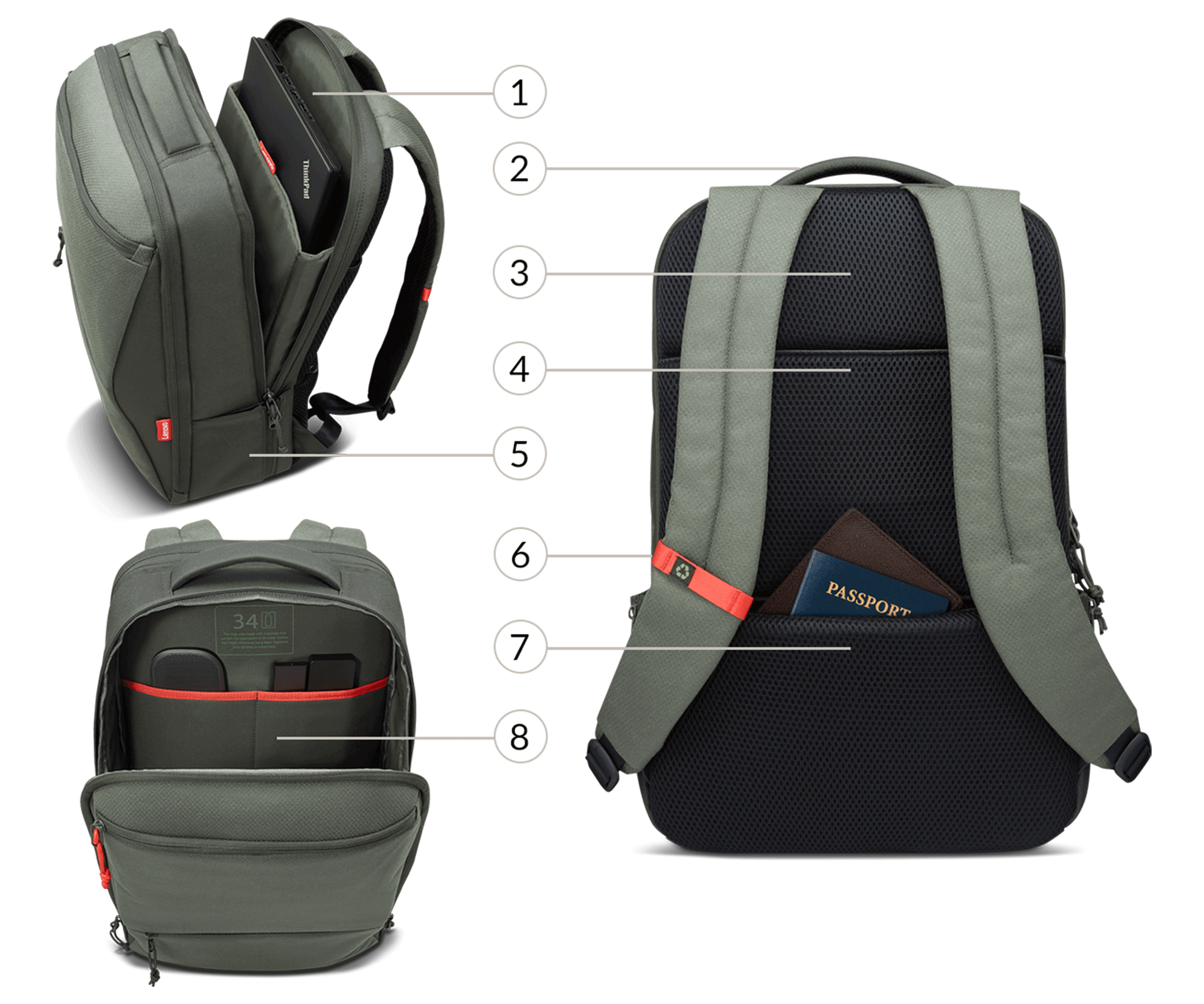 Lenovo 15.6-inch Commuter Backpack features View