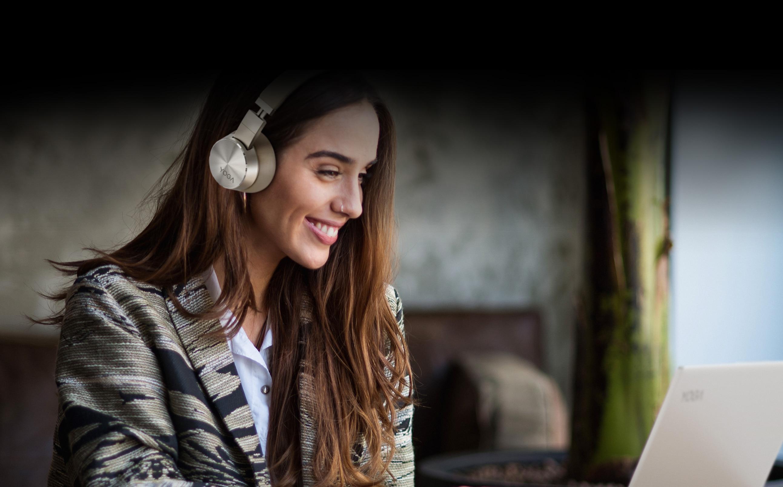 Woman wearing Yoga ANC Headphones