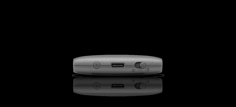 Mysz Lenovo Yoga z prezenterem laserowym — parowanie i port ładowania z bliska